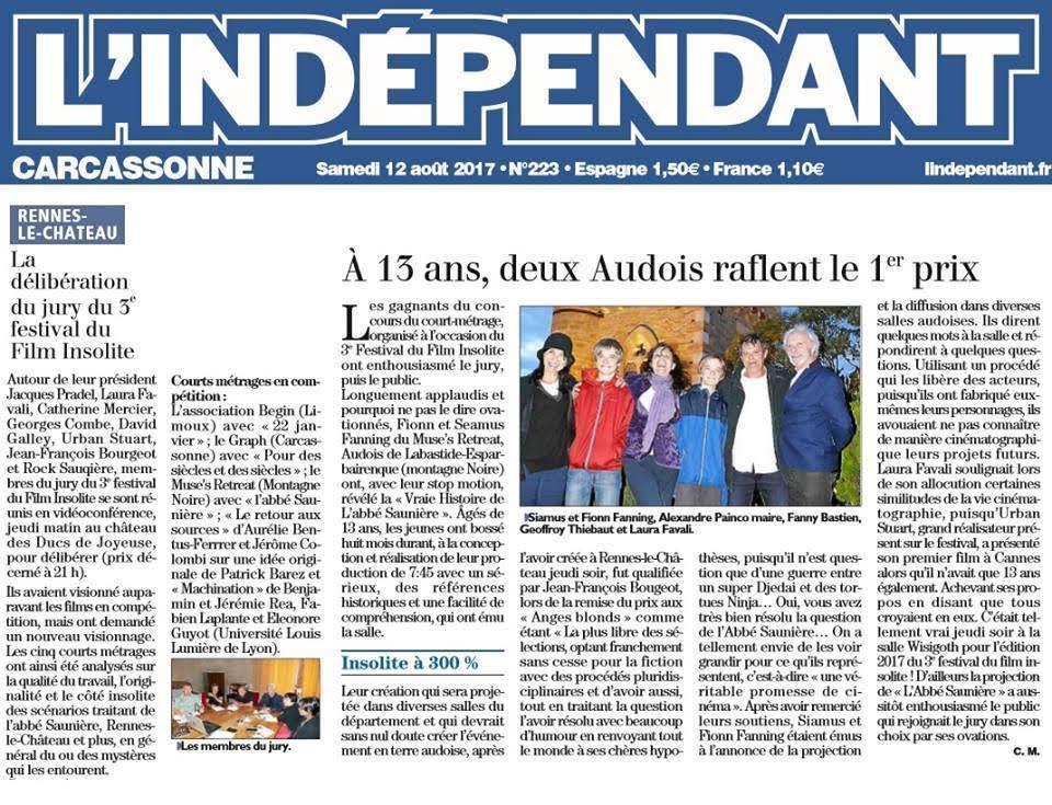 Presse L'indépendant : Festival Insolite Rennes le château