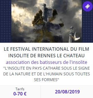 Billetterie Festival Film Insolite 2019